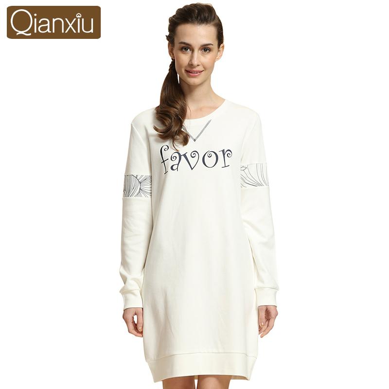 Qianxiu Home dress women Sleepshirts round neck nightskirt knee- length homedress Long sleeve nightgowns for women free shippingОдежда и ак�е��уары<br><br><br>Aliexpress