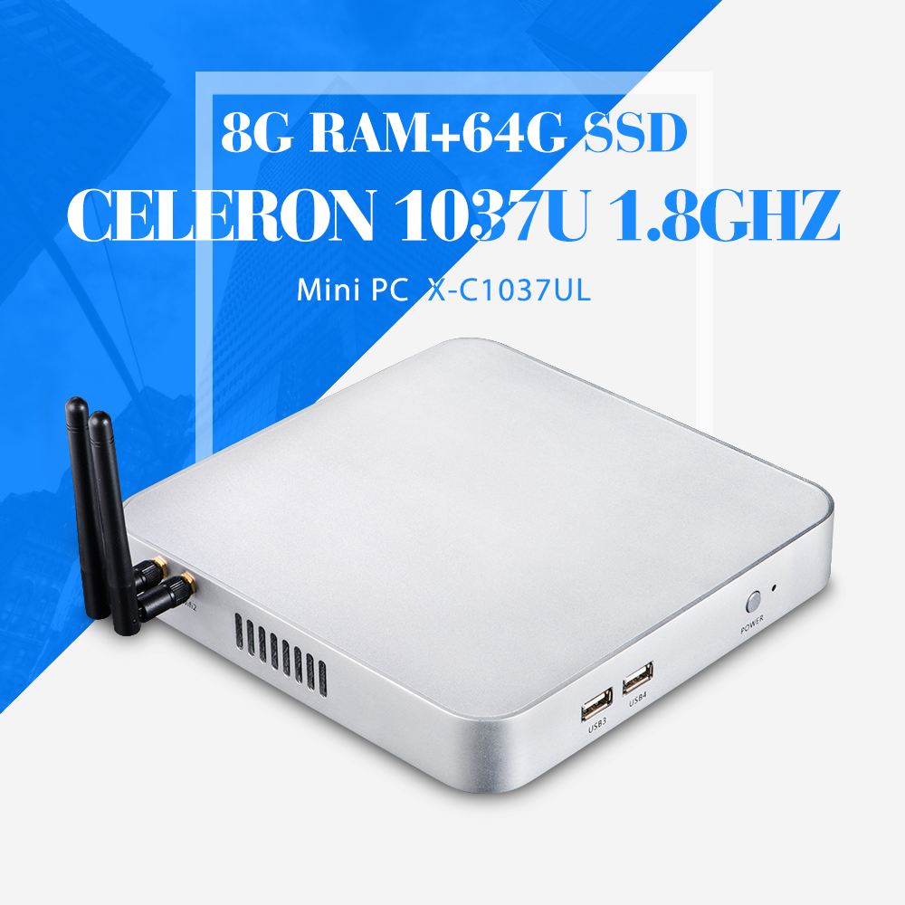hot thin client computer mini pc C1037U 8g ram 64g ssd with wifi 2*RJ-45 embedded computer Mini pc linux server thin client(China (Mainland))