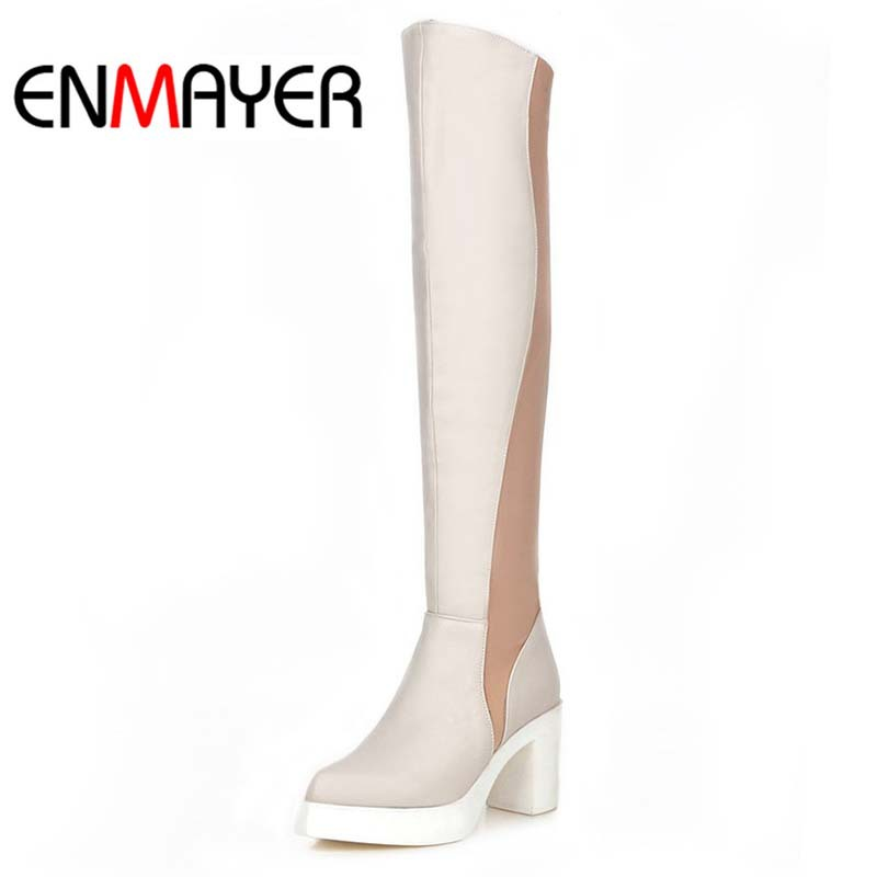 ENMAYER Platform Pointed Toe Fashion Square heel High Boots Shoes big size42 Over-the-Knee boots White red Apricot Woomen boots <br><br>Aliexpress