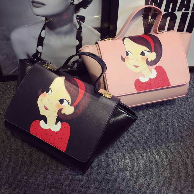6808H 2015 new leather cow two beauty map printing cortex portable shoulder Xiekua package bag(China (Mainland))