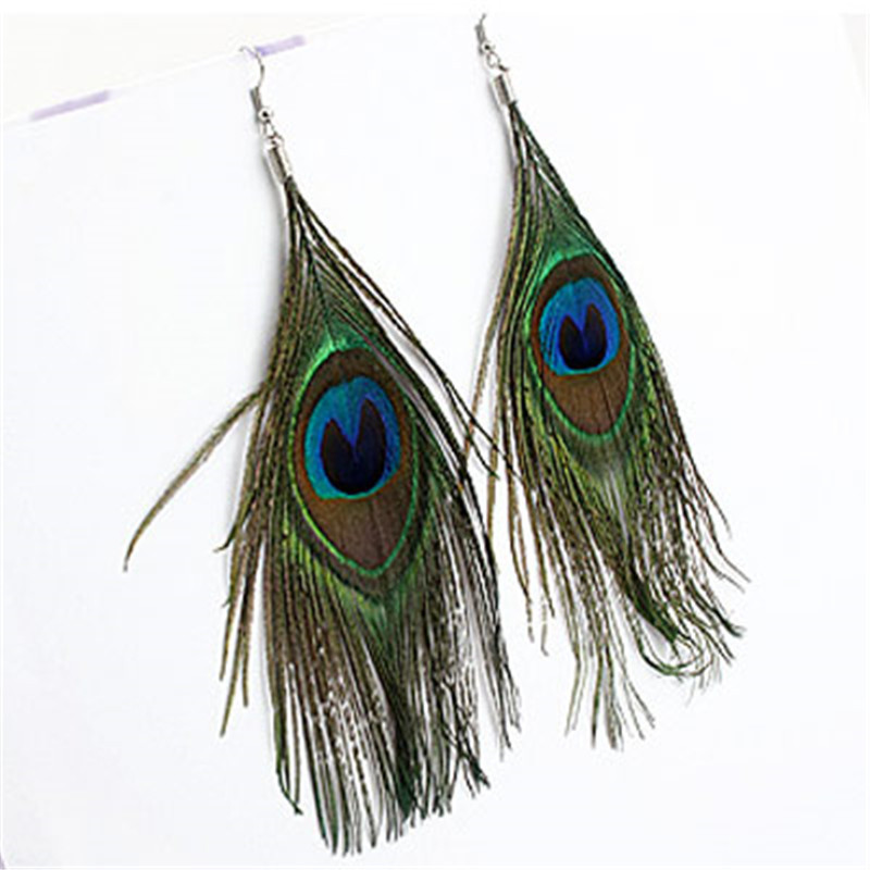 Folk style Peacock Feather Earrings(China (Mainland))