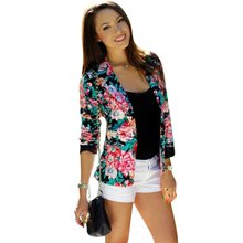 Casual Women One Button Jacket Slim Casual Business Blazer Suit Floral Coat Outwear(China (Mainland))