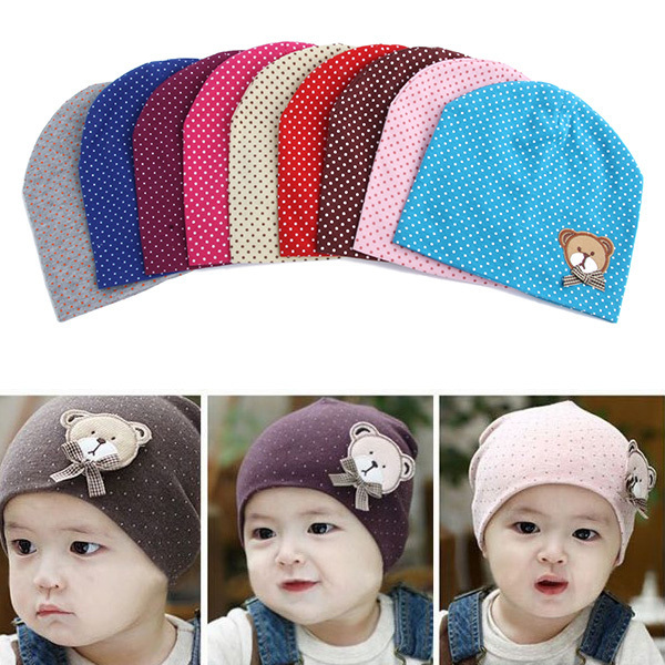 Lovely Kids Infant Baby Boys Girls Unisex Beanie Hat Bear labeling Cap 9 Colors(China (Mainland))