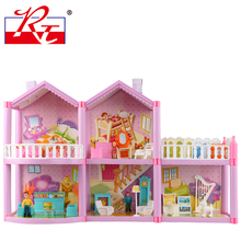 Plastic Doll House toys for children toys  dollhouse  miniatures with simulation room furniture 	 DIY assembly toys girl gift(China (Mainland))