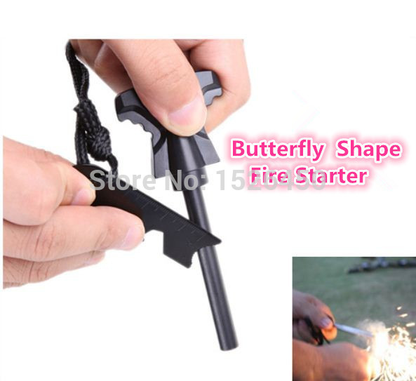 LY2 Pcs\ lot Butterfly ShapeOutdoor Sport Survival Flint Rod Striker Flintstone Fire Starter Firestone Stick Magnesium Tool(China (Mainland))