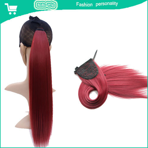 wine red women 24 inch 60cm 100g long straight synthetic drawstring ponytails claw clip ponytail hair extensions braid hairpiece(China (Mainland))