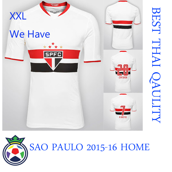 Free Shipping 2015-16 SAO PAULO Home and Away Jersey, Thai Qaulity Material with Embroider Team Badge, have Biggest size XXL(China (Mainland))