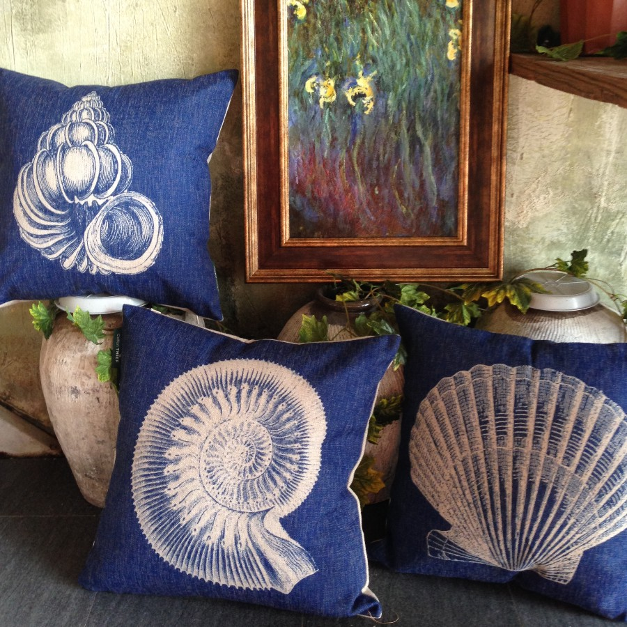 Sofa Protector Spray Images Sofa Protector Spray Images  : Navy blue Spiral shells Pillow Scallop Pillow Case Sea snail Cushion Coastal Beach Cottage Style Bedroom from favefaves.com size 900 x 900 jpeg 284kB
