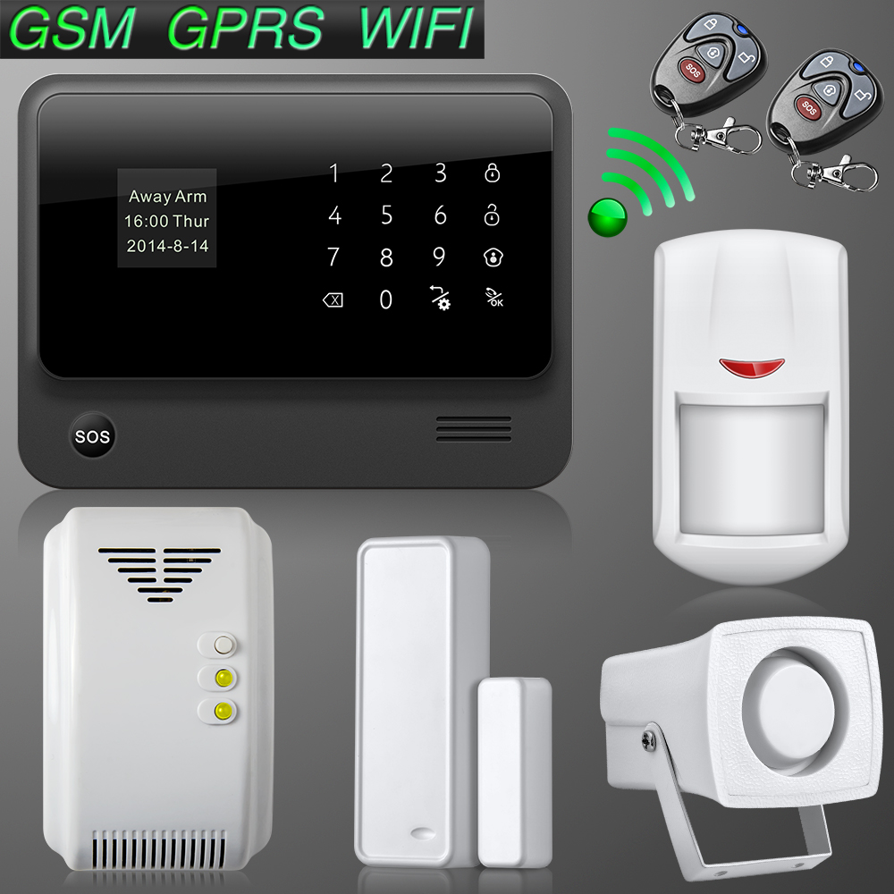 Golden Security Touch screen keypad LCD display WIFI GSM IOS Android APP Wireless Home Burglar Security Alarm System Black<br><br>Aliexpress