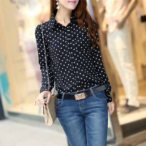 Hot Sale Casual Women Blouses New Summer Lady Polka Dots Vintage Design Long Sleeve Turn Down Collar Clothing Shirt Plus Size(China (Mainland))
