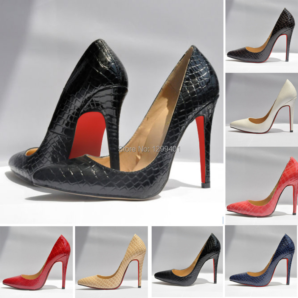 Women Sexy Pumps Ladies Crocodile Grain Pattern Pointed Toe Red Bottom High Heels Stilettos Fashion Wedding Party Shoes