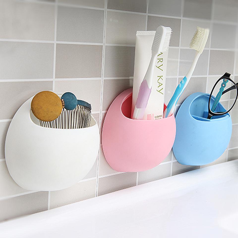 BEST New Toothbrush Sucker Holder Suction Hooks Cup Organizer Toothbrush Rack Bathroom Kitchen Storage Set Free Shipping(China (Mainland))