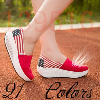 New 2016 Color block Light weight Comfortabale women shoes Top quality Canvas shoes Women's platform wedge casual