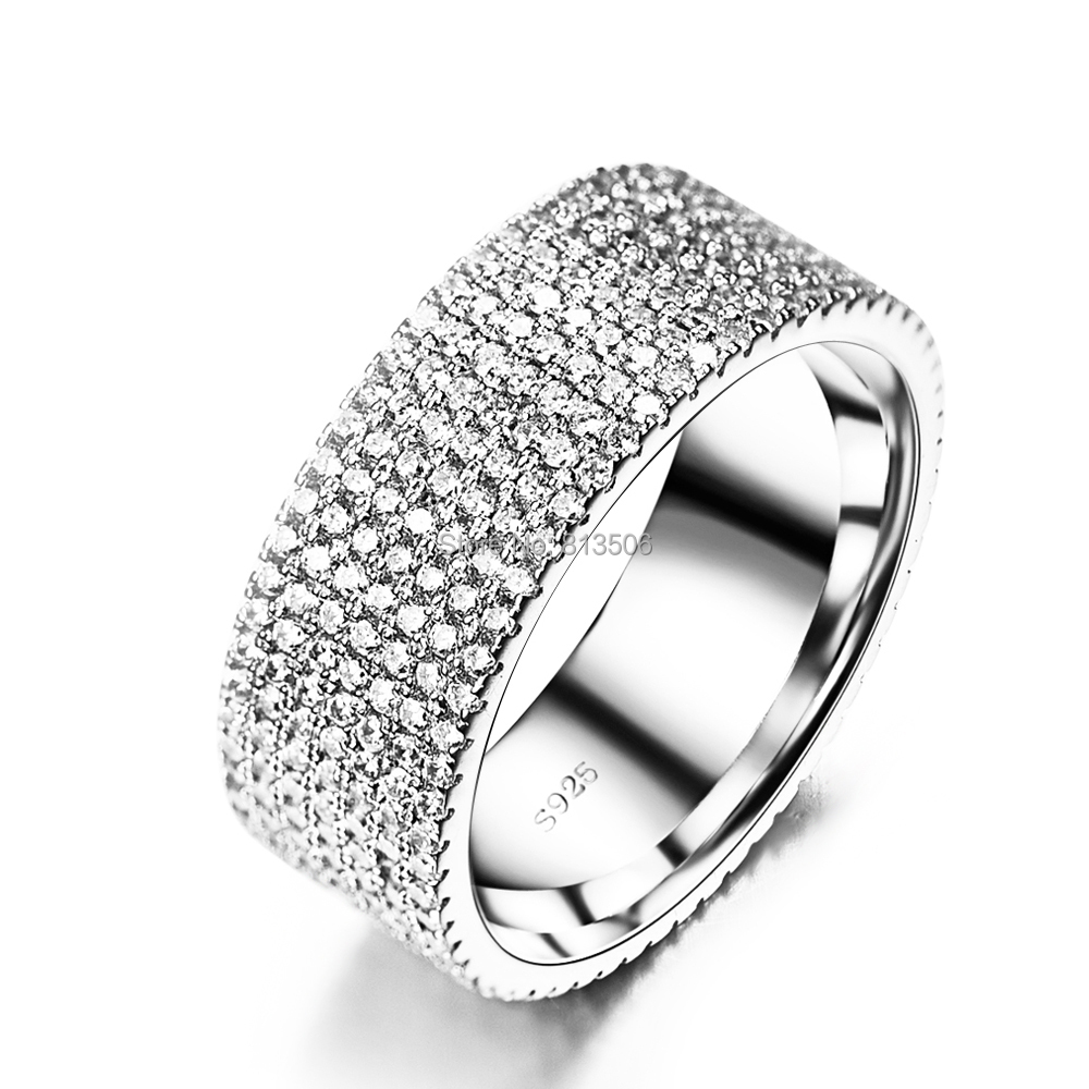 GNJ0473 2015 Bague Femme Genuine 925 Sterling Silver Jewelry 7-row Full CZ Engagement Wedding Rings Women Fashion - Happy's store--Honesty trade store
