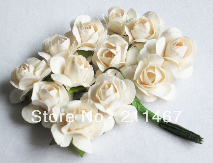 Free shipping ivory white Mulberry paper Artificial flowers for wedding invatation card decoration 144pcs/lot(China (Mainland))