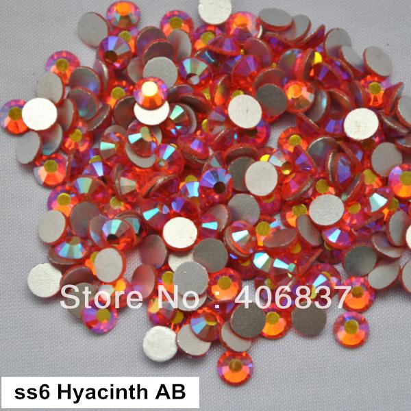 Free Shipping! 1440pcs/Lot, ss6 (1.9-2.1mm) Hyacinth AB Flat Back Nail Art Glue On Non Hotfix Rhinestones(China (Mainland))