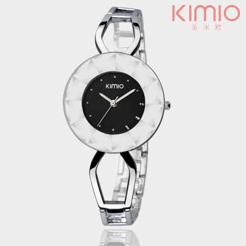 KIMIO Brand Women's Fashion Bracelet Watches Crystal face Stainless Steel Wristwatch waterproof dress Quartz Watch(China (Mainland))