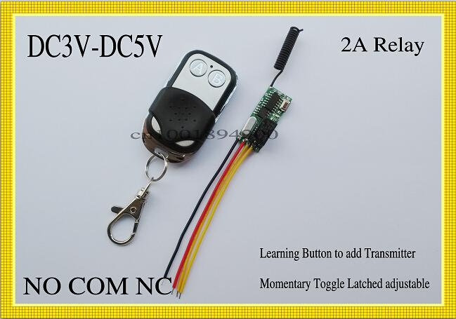 Remote Control Switch DC 3V-5V 3v 3.7v 4.5v 5v Light LED Lamp light emitting diode Lighting Remote Switch 3V 5v Relay NO COM NC<br><br>Aliexpress