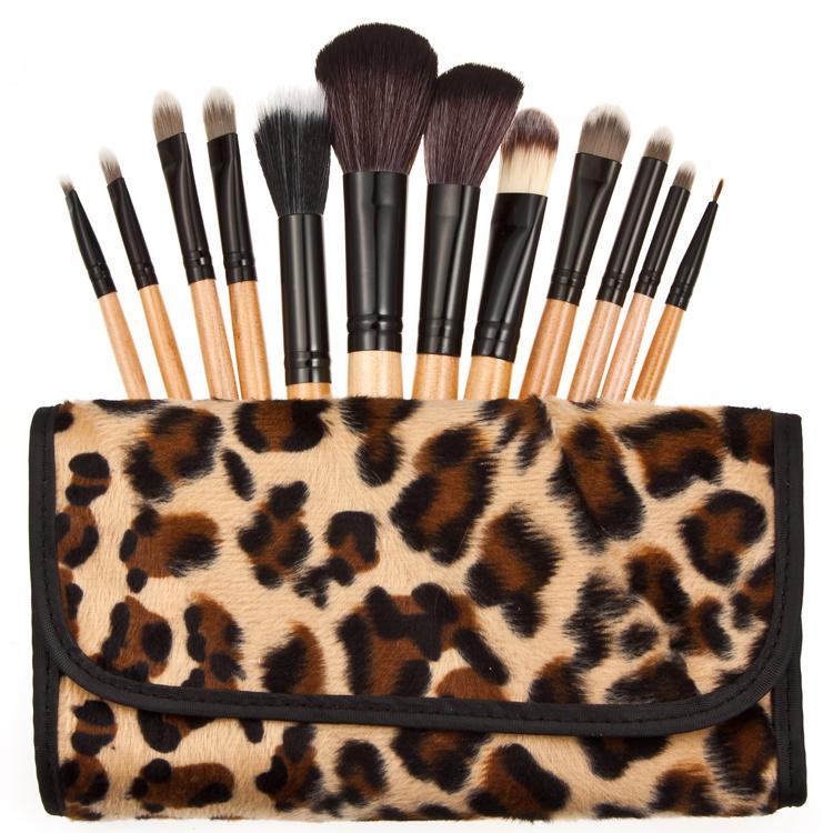 12 Pcs Professional Natural Wooden Handle Cosmetic Make Up Makeup Powder Brush Brushes Set Leopard Case
