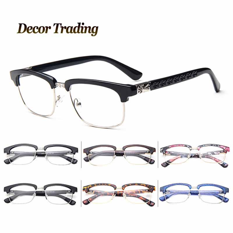 Half Frame Clear Lens Glasses : 2016 Unisex Vintage Retro Classic Metal Half Frame Glasses ...