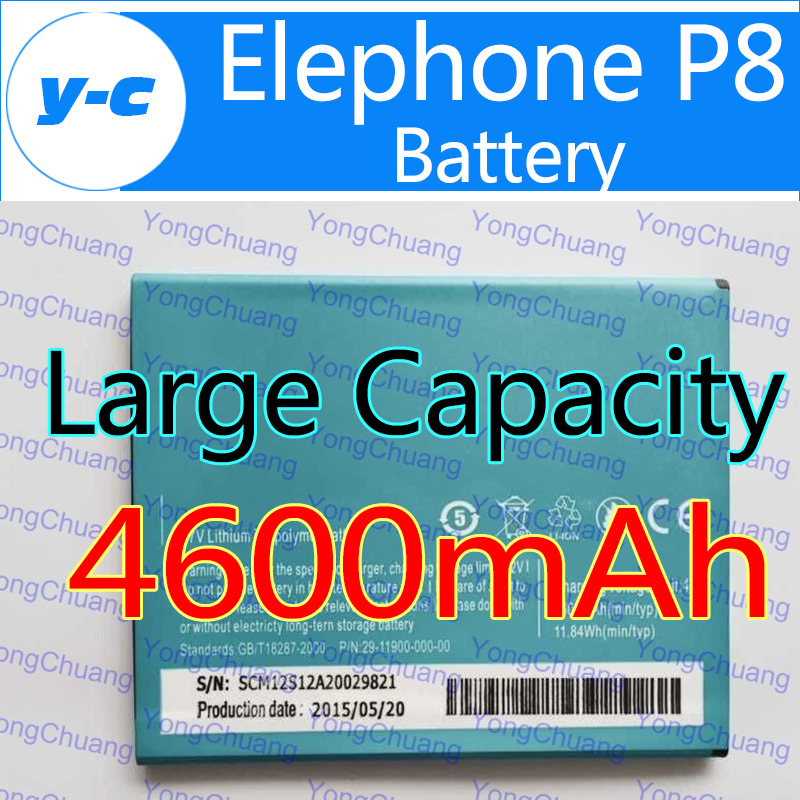 Elephone P8 battery 100% New Original 4600mAh Large Capacity Battery for elephone P8 Cell Phone In Stock Free Ship+ Track Number