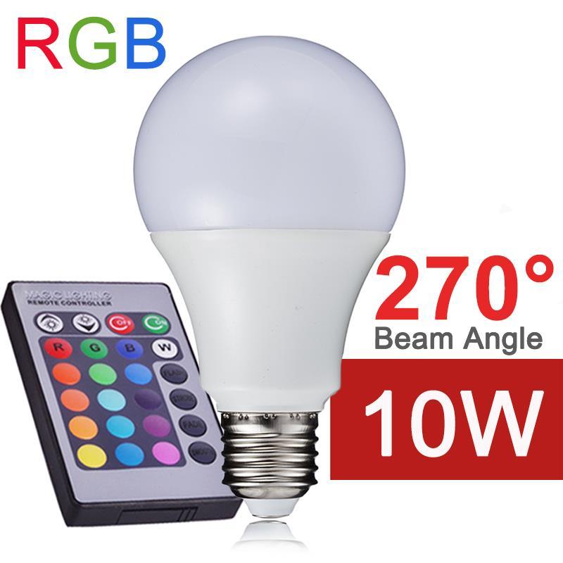 Гаджет  NEW RGB LED Bulb E27 10W 110V 220V LED RGB Lamp Light SMD5050 Remote Control Powerful Sync & Memory Function RGB Lampada LED A65 None Свет и освещение