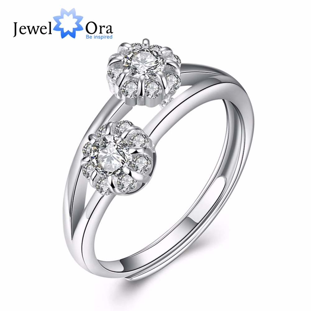 Adjustable Ring Guarantee 925 Sterling Silver Jewelry Cubic Zirconia Women Rings For Party (JewelOra RI102204)(China (Mainland))