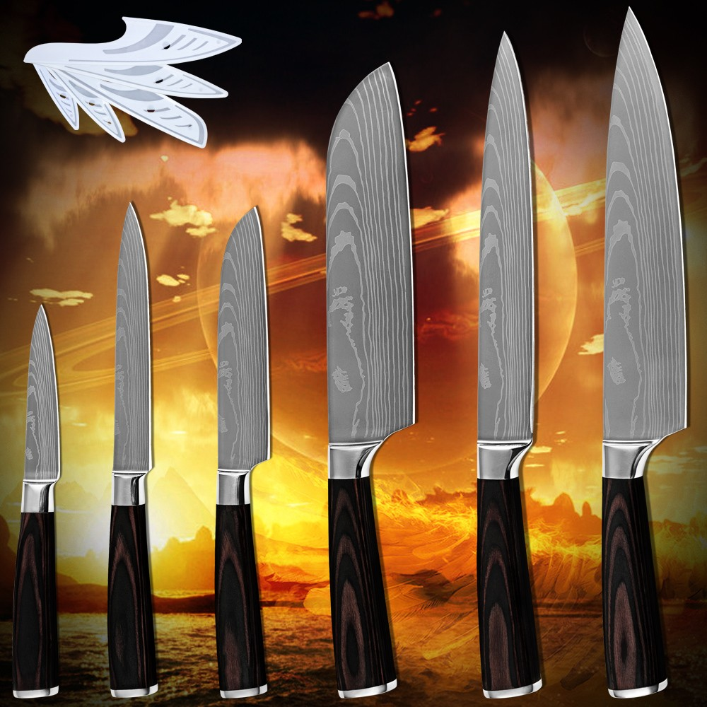Buy Hot products six-piece set kitchen knives laser Damascus pattern 7Cr17stainless steel pakka wood handle high-grade cooking tools cheap