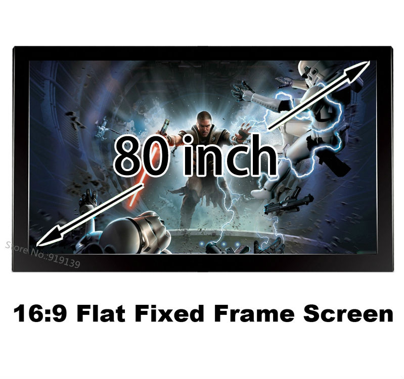 Multimedia 3D Projector Screen 80 Inch Flat Fixed Frame 16:9 Projection Screens High Gain 1.2 Good Image Display(China (Mainland))