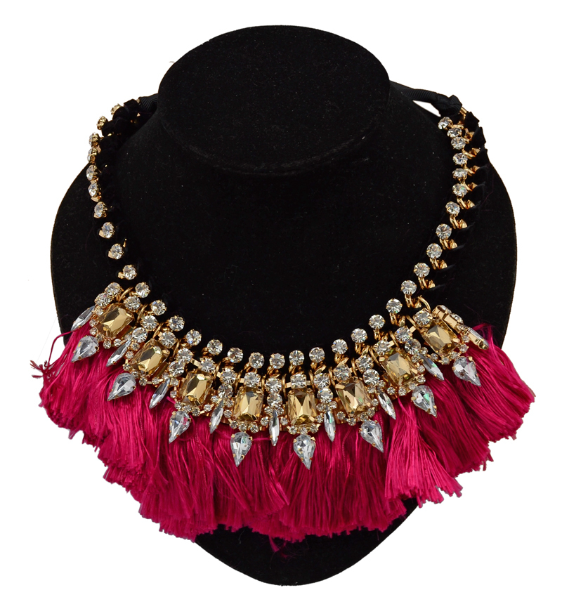 Bohemian fashion gold plated silk ribbon chain crystal rhinestone feather tassels bib statement flower necklace - Fascinating Jewelry store