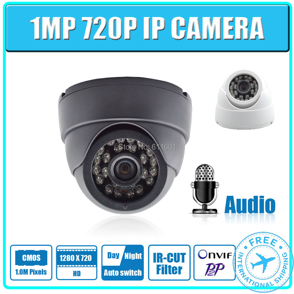 1MP Audio IP Camera 720P 24pcs leds Securiy Dome with micphone HD Network CCTV IP Camera Support Phone Android IOS P2P ONVIF2.0(China (Mainland))