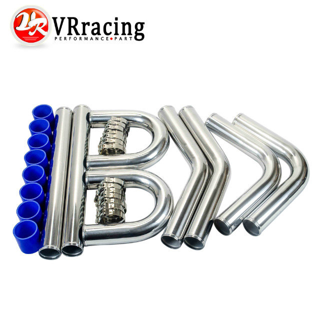 VR STORE- 2.5 63mm TURBO INTERCOOLER PIPE 2.5 L=600MM CHROME ALUMINUM PIPING PIPE TUBE+T-CLAMPS+ SILICONE HOSES BLUE VR1718<br><br>Aliexpress