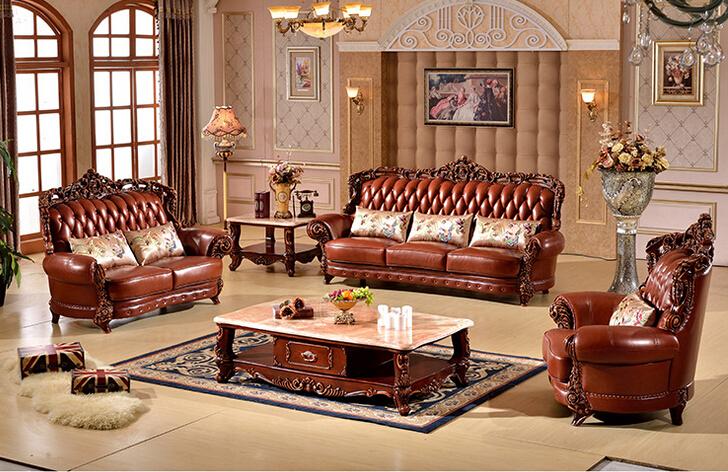 Haute qualit luxe en cuir v ritable avec bois funiture for Canape cuir de qualite