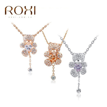 ROXI Christmas Little Bear pendant necklace with heart Austrian crystals rose gold plated hand made fashion jewelry,2030028610