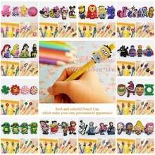 Free shipping 4pcs cartoon PVC pencil caps Minions Mickey Princess Avengers Ninja pencil decoration DIY pen creative gifts