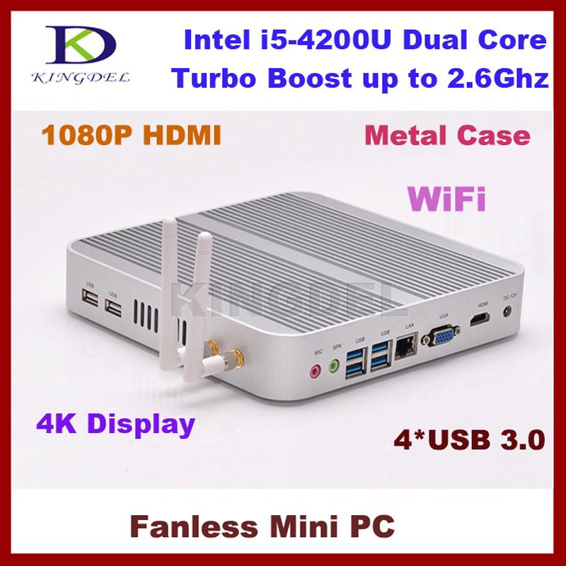 Portable Network Mini PC I5 4200U 1.6G 8GB RAM, 64GB SSD 1TB HDD Gaming PC Fanless Desktop Computer(Hong Kong)
