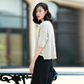 Girl s three quarter sleeves solid color turtleneck short thick pullover sweater with longer rear hem