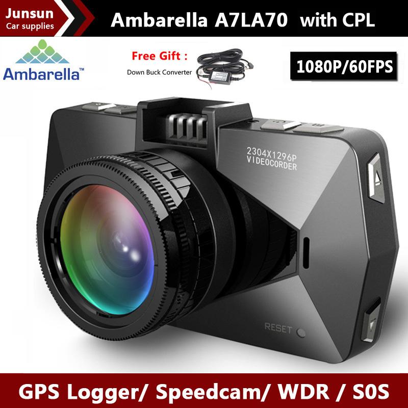 Best camera Ambarella A7 LA70 Car DVRS Video Recorder SpeedCam Full HD 1296P GPS Logger LDWS OV4689 with polarizing CPL Filter(China (Mainland))