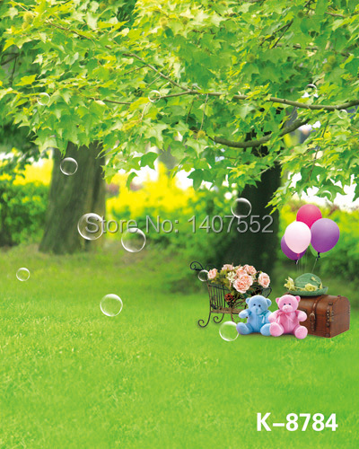 free shipping 200CM*150CM Bubble, doll, suitcase, wrought iron props, green trees, green grass backgrounds studio photography(China (Mainland))