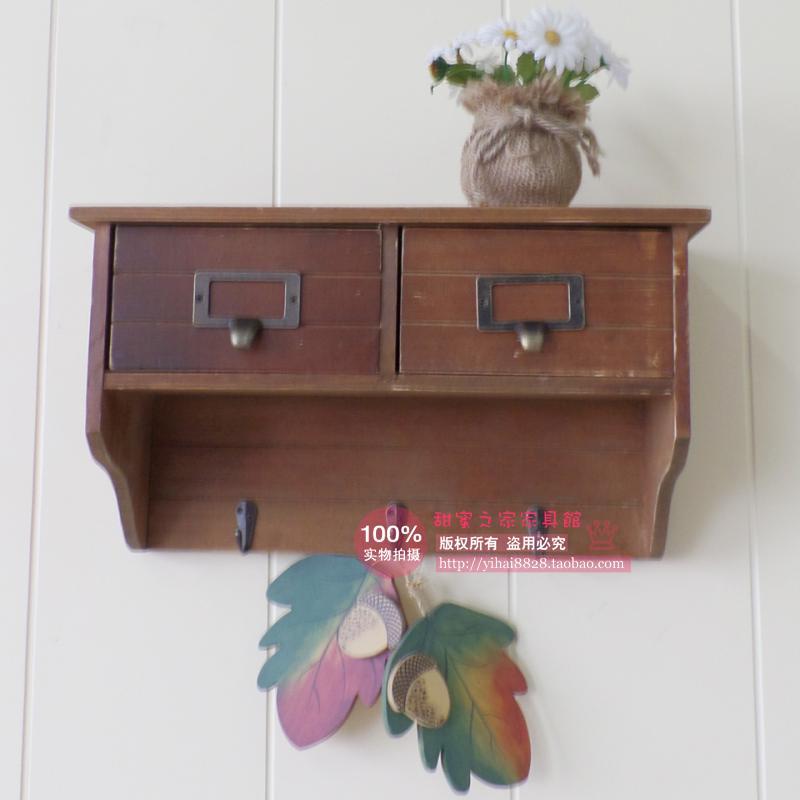 zakka wind increased wood cabinets with drawers decorative wall hanging cabinet shelving American foyer key box(China (Mainland))