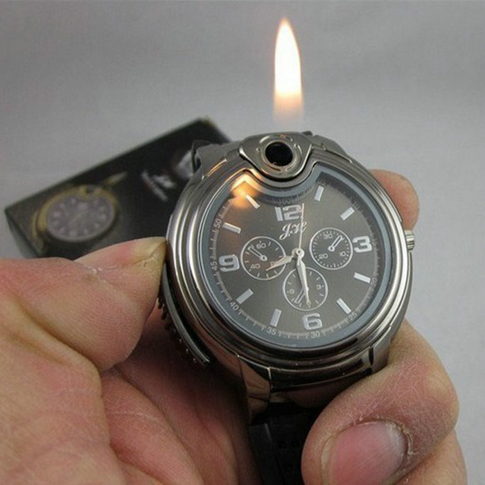 2015 Military Lighter Watch Novelty Man Quartz Sports Refillable Gas Cigarette Cigar Men Watches Luxury Brand relogio masculino(China (Mainland))