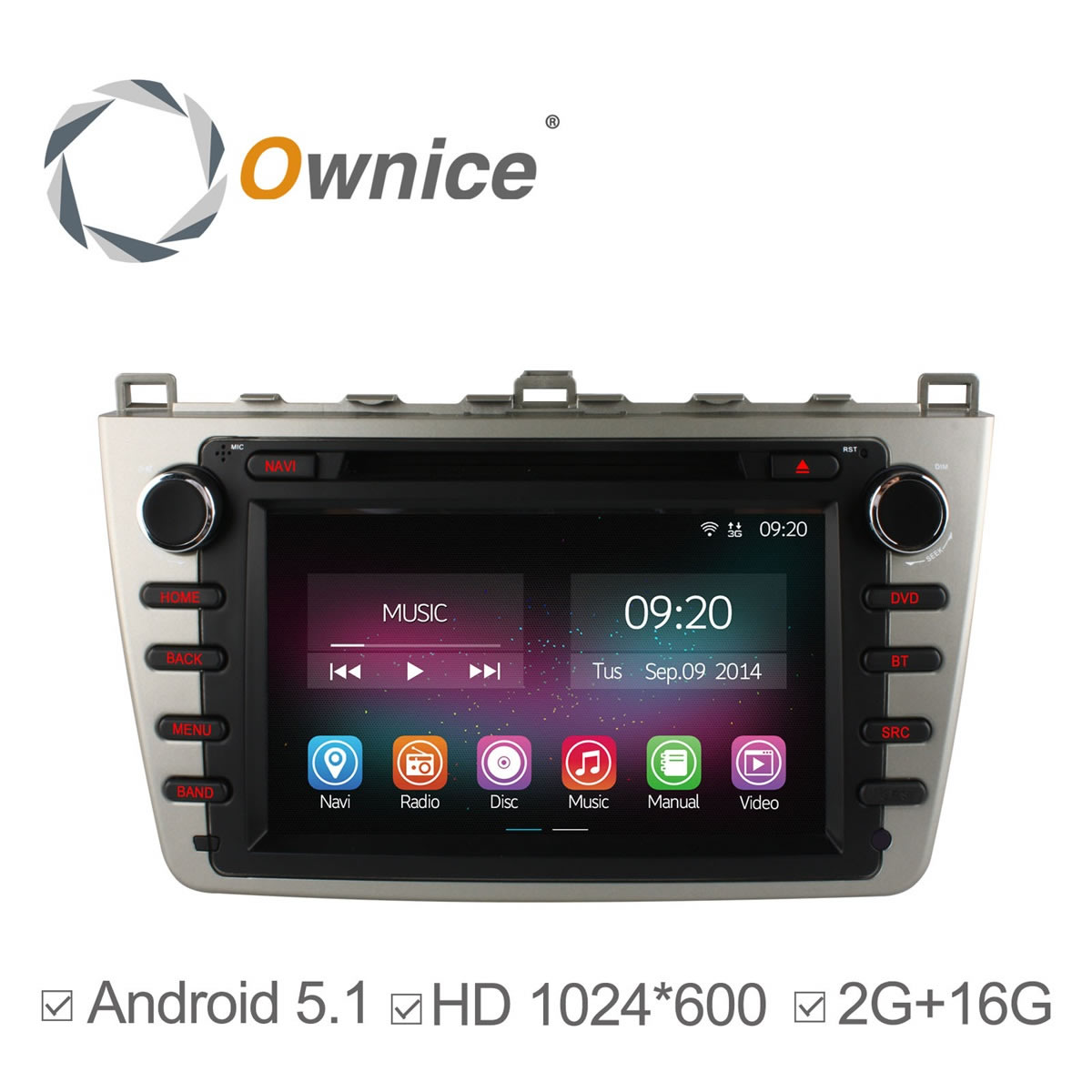 "8"" Android 5.1 4 Core Car DVD Player for Mazda 6 Ruiyi 2009 2010 2011 2012 2015 GPS Navigation Radio Bluetooth 1024*600 2G/16GB(China (Mainland))"