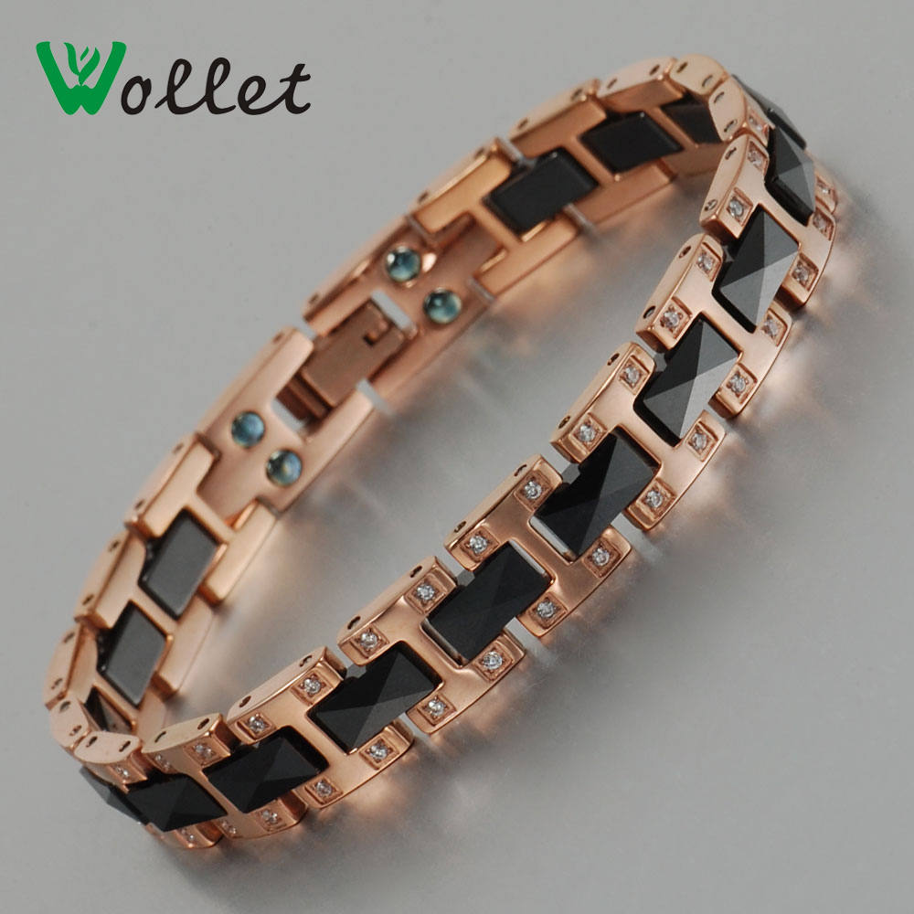 Wollet Health Care Energy Women Black Ceramic Bracelet Shiny Crystal Bio Magnetic Rose Gold Plated Jewelry For Femme(China (Mainland))