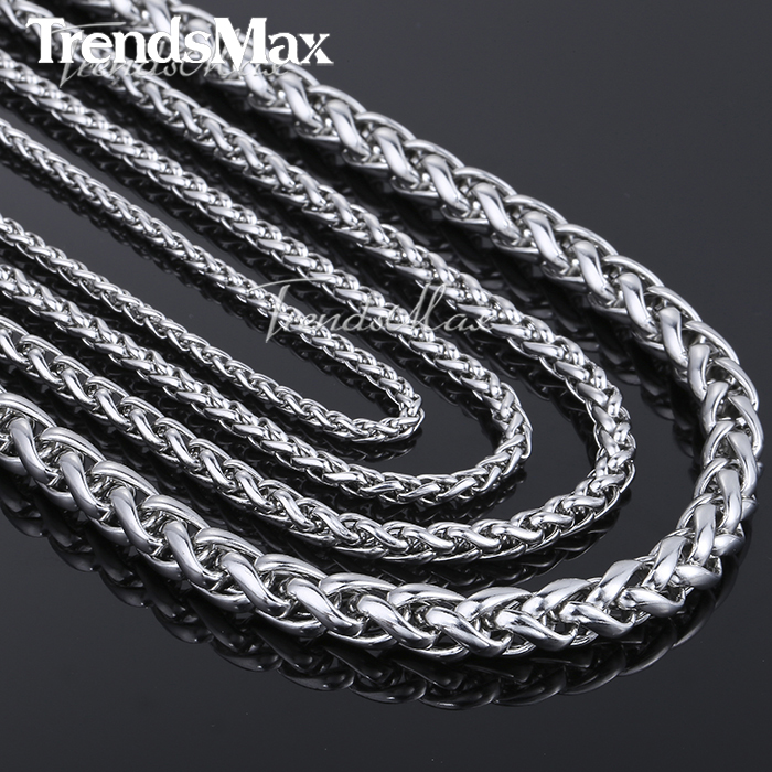 Customized Any Length 3/4/5/6/8/10mm Wide Mens Chain Necklace Wheat Link Silver Tone Stainless Steel Chain High Quality KNM11(Hong Kong)
