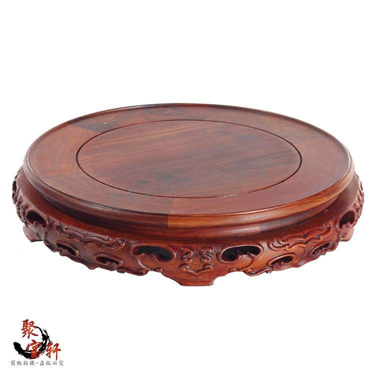 Red sandalwood rosewood carving handicraft circular base solid wood flowerpot of Buddha stone vases, furnishing articles