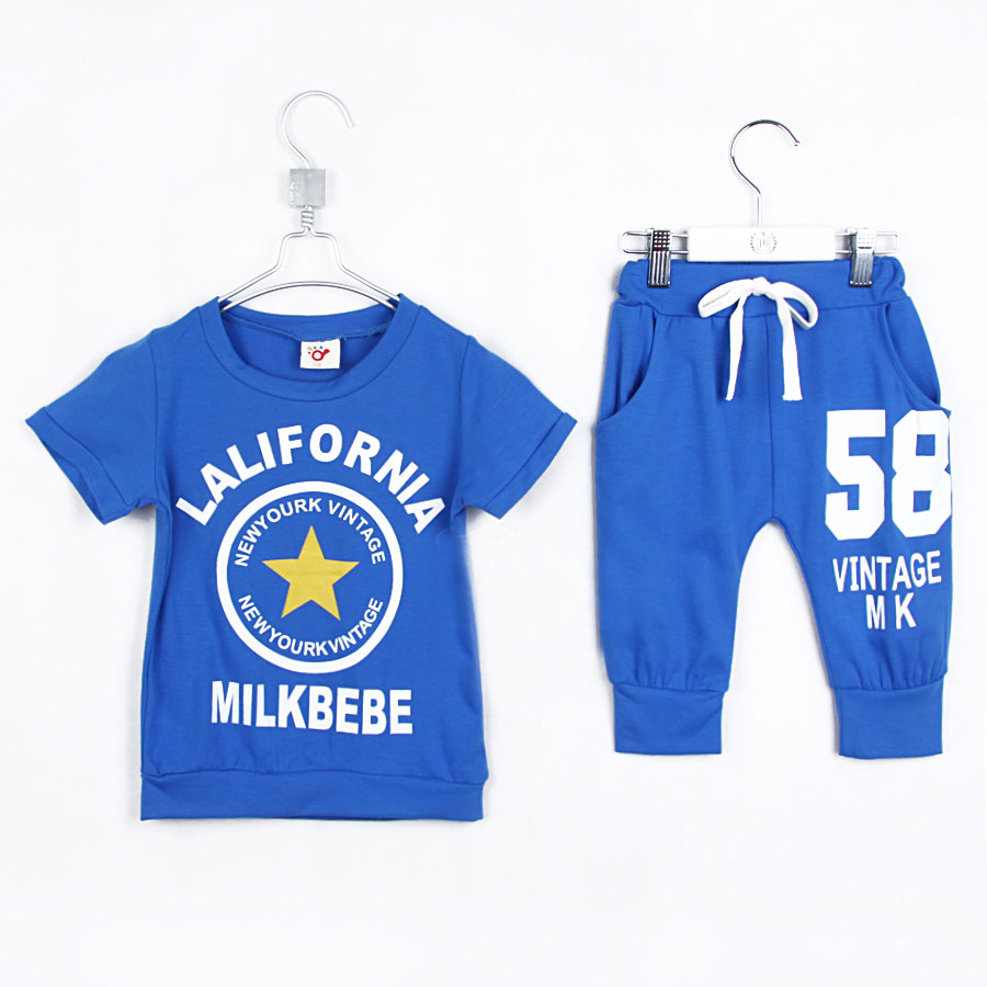 2015 summer o-neck actived shorts little boys and girls clothing sets fashional casual children's T-shirts A1856(China (Mainland))