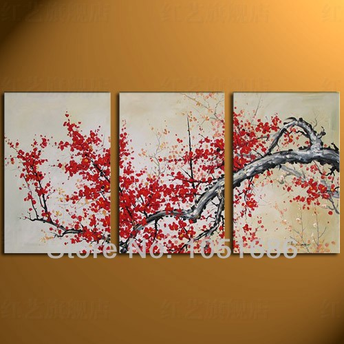 Handmade 3 panel decorative modern abstract canvas red for Red canvas painting ideas