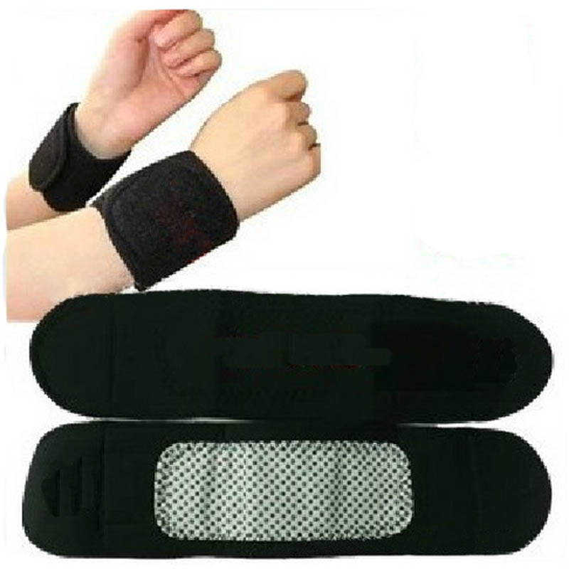 1Pair Magnetic Therapy Tourmaline Wrist Brace Protection Belt Spontaneous Heating Massager(China (Mainland))