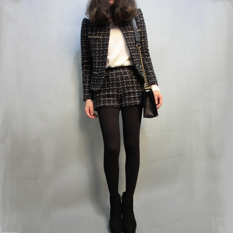 European style Wool coat small outerwear set woolen tweed fabric short jacket 2015 autumn and winter women TP176(China (Mainland))