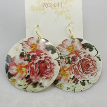 Shell earrings earring drop earring bohemia national trend colored drawing painting flower(China (Mainland))